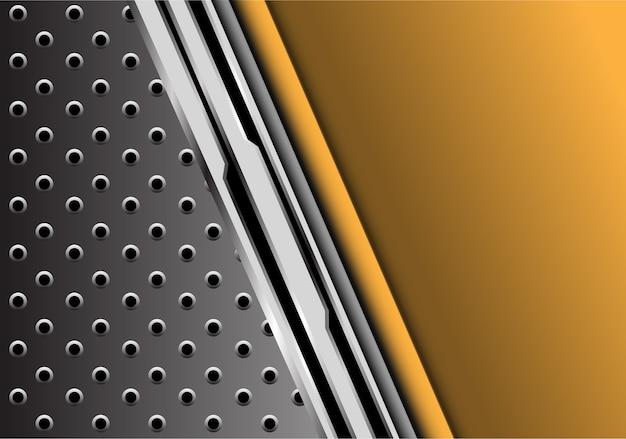 Gelbes metall futuristisch mit grauem kreismaschenhintergrund.
