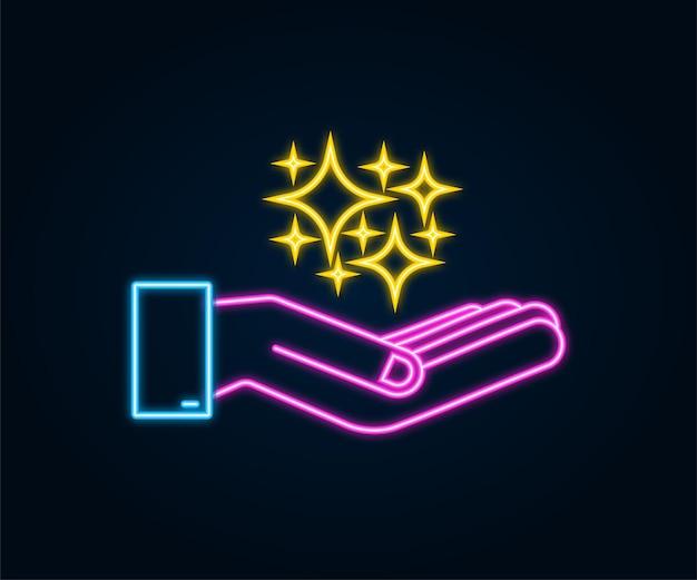 Gelbes neon funkelt symbole in den händen der satz der ursprünglichen vektorsterne funkelt ikone