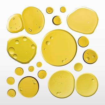 Gelbes öl flüssige blase makro-vektor-kosmetikprodukt-set