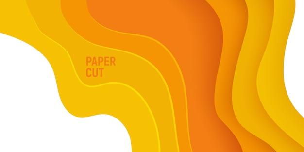 Gelbes papier schnitt fahne mit abstraktem hintergrund des schlammes 3d und gelbwellenschichten.