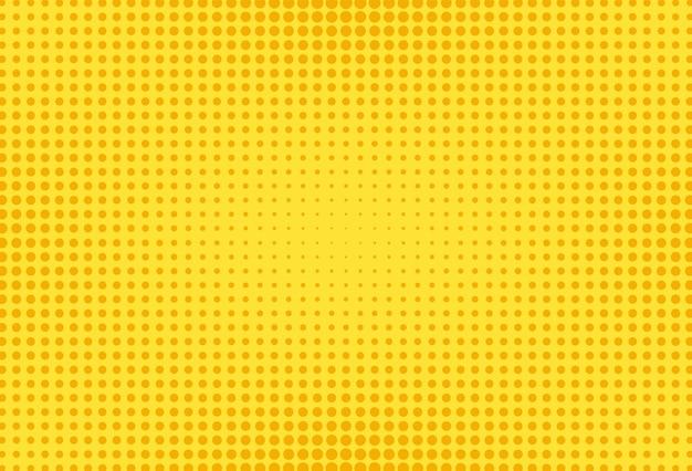 Gelbes pop-art-muster. komischer halbtonhintergrund. vektor-illustration.