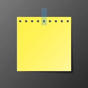 Gelbes postbriefpapier mit schatten