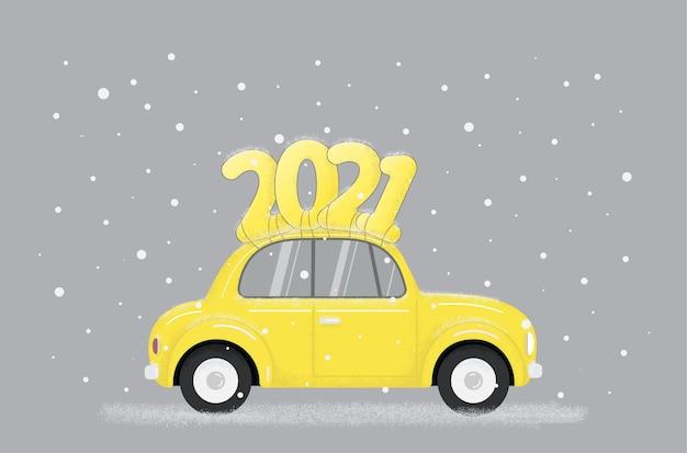 Gelbes retroauto mit text auf dach im modernen trend