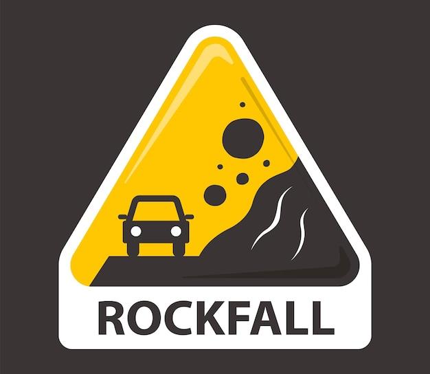 Gelbes schild vorsicht steinschlag. stein fällt auf ein auto. flache vektorillustration isoliert