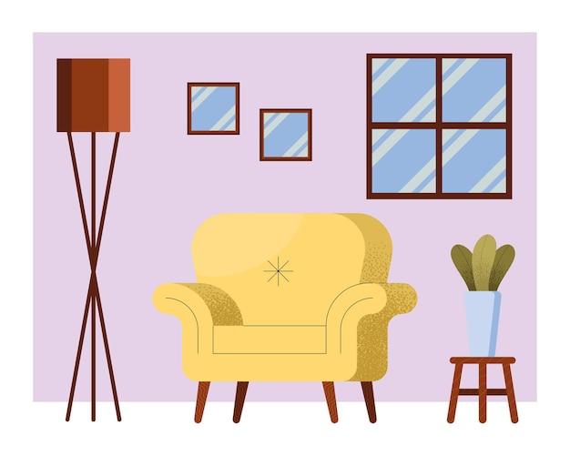 Gelbes sofa in der wohnzimmerszene