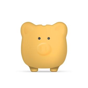 Gelbes sparschwein in form von schweinen. sparschwein für geld. isoliert. vektor.