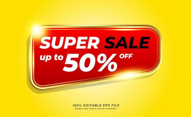 Gelbes super sale-banner mit goldener kontur auf rotem hintergrund