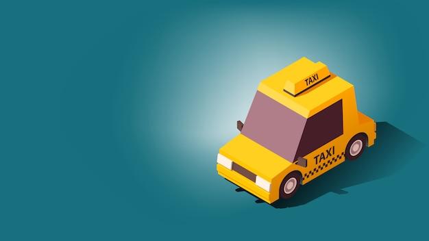 Gelbes taxi. auf stadt landschaft hintergrund. illustration im isoflat-stil.