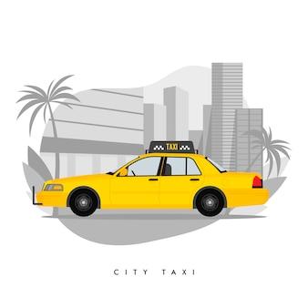 Gelbes taxi auf stadt mit wolkenkratzern und turm mit palmeabbildung