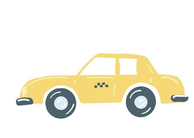 Gelbes taxiauto lokalisierte limousinen-personentaxi mit einem gezeichneten karikaturartvektor des stammes hand