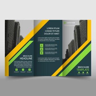 Gelbes trifold prospekt broschüre vorlage