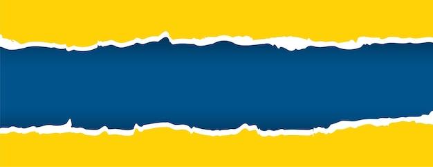 Gelbes und blaues banner mit zerrissenem papiereffekt