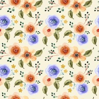 Gelbes und lila natürliches blumenaquarell nahtloses muster