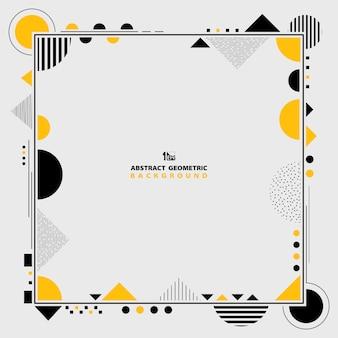 Gelbes und schwarzes geometrisches rahmenmuster.