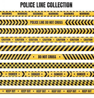 Gelbes und schwarzes polizeiband zur warnung vor gefährlichen bereichen