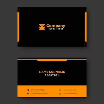 Gelbes und schwarzes professionelles visitenkarten-vorlagen-vektordesign
