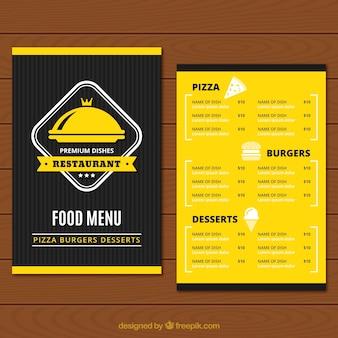Gelbes und schwarzes restaurantmenü