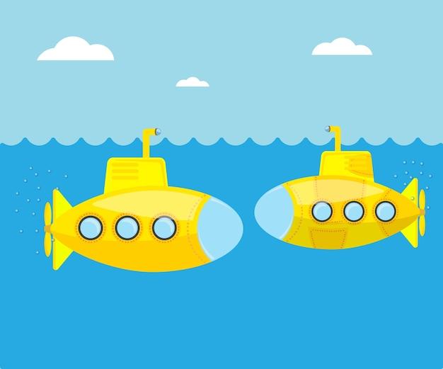 Gelbes unterseeboot in der blauen seevektorillustration