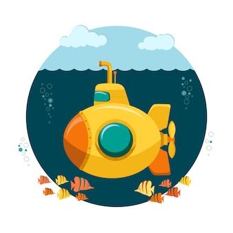 Gelbes unterseeboot unterseeisch mit fischen