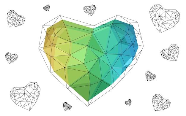 Gelbes vektorzusammenfassung dreieck-geometrisches herz