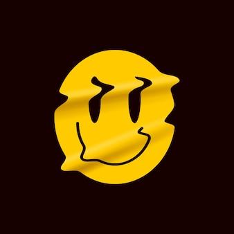 Gelbes verzerrtes lächelnemoji lokalisiert auf schwarzem hintergrund. gelber lächelngesichtslogoaufkleber oder plakatschablone für stand-up-comedy-show.