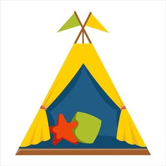 Gelbes wigwam-zelt für kinder zum spielen und schlafen mit kissen vector illustration