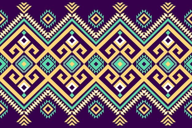 Gelbgrün auf dunkelviolettem geometrischem orientalischem ikat nahtloses traditionelles ethnisches musterdesign für hintergrund, teppich, tapetenhintergrund, kleidung, verpackung, batik, gewebe. stickstil. vektor