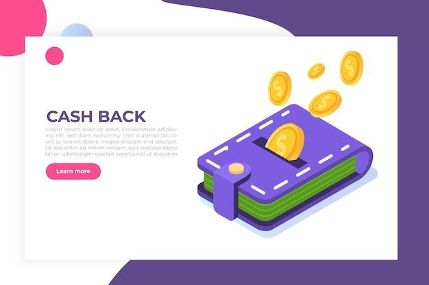 Geld-cash-back-konzept. münzen und brieftasche. isometrische darstellung.