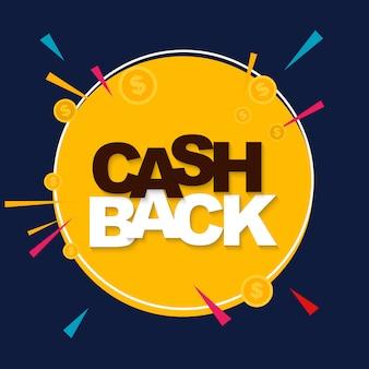 Geld-cashback-plakat mit golddollar-münzen. illustration
