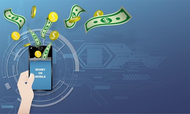 Geld, das in der hand auf blauem hintergrund und stromkreis zum mobile fliegt.