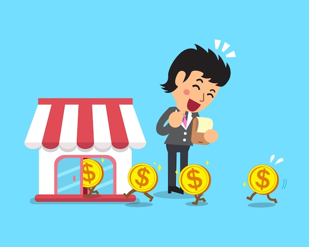 Geld der karikaturgeschäftsfrau mit ihrem geschäft