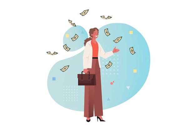 Geld, erfolg, gewinn, wohlstand, geschäftskonzept