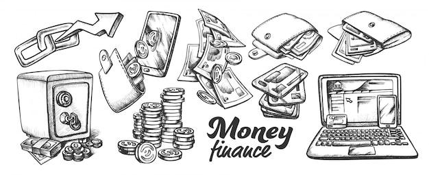 Geld finanzen sammlung monochrom set