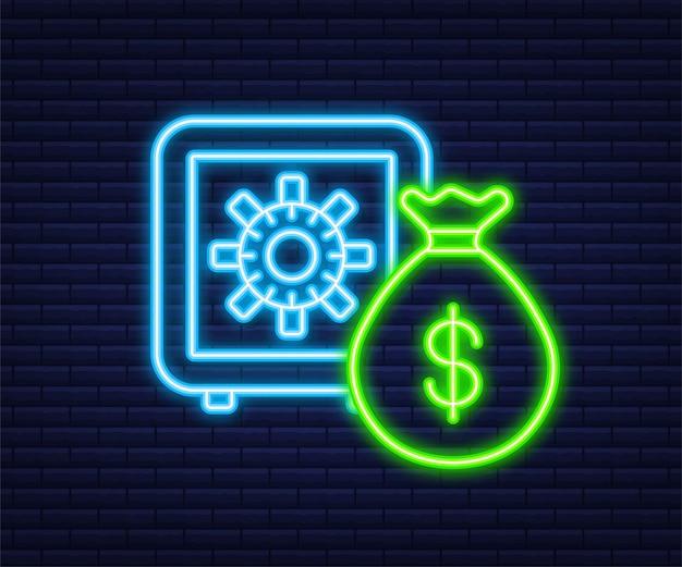 Geld, finanzen und zahlungen. neon-umriss-web-symbol. vektor-illustration.