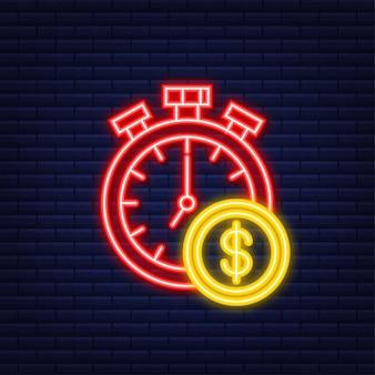 Geld, finanzen und zahlungen. umriss-web-symbol festlegen. neon-stil. vektor-illustration.