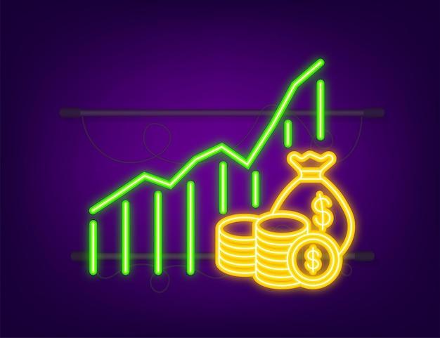 Geld, finanzen und zahlungen. umriss-web-symbol festlegen. neon-symbol. vektor-illustration.