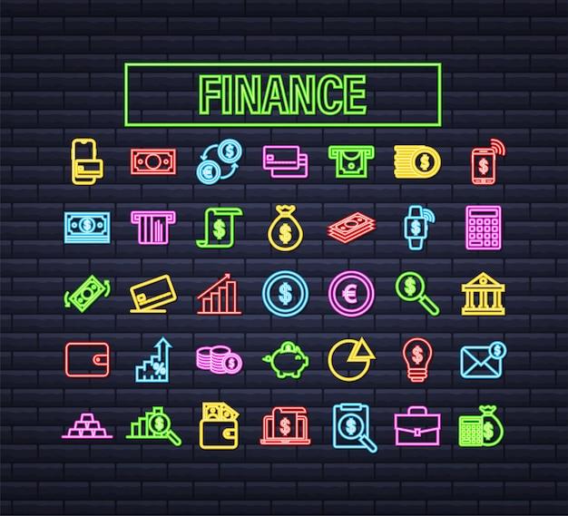 Geld, finanzen, zahlungen. legen sie das neon-web-symbol fest. vektorgrafik auf lager.