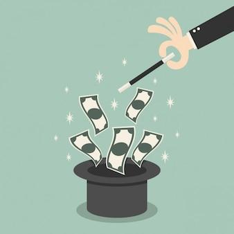 Geld geht aus einem zauberhut