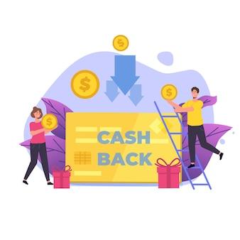 Geld-geld-zurück-illustration mit leuten, die münzen halten