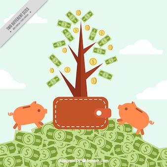 Geld-hintergrund mit der brieftasche und zwei sparbüchsen
