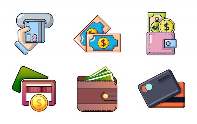 Geld-icon-set. karikatursatz geldvektorikonen eingestellt lokalisiert