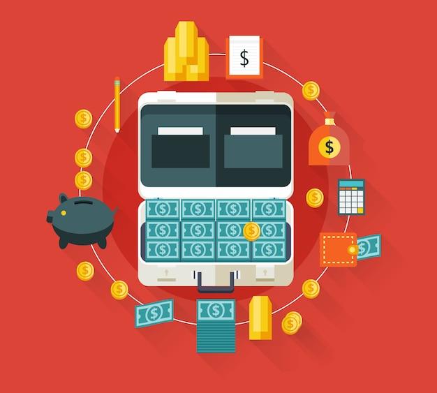 Geld im koffer. moderne illustration mit langen schatten.