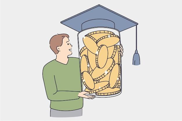 Geld in bildungskonzept investieren. kleiner junge, der ein riesiges glas voller goldener münzen hält, das mit einer vektorillustration des studentengrads bonet bedeckt ist?