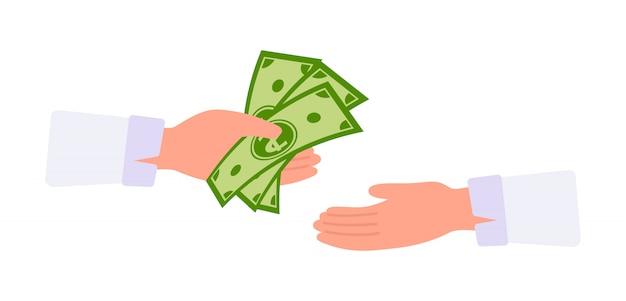 Geld in der hand cartoon. barzahlungskonzept. geschäftsmann hände nimmt geld umtauschen