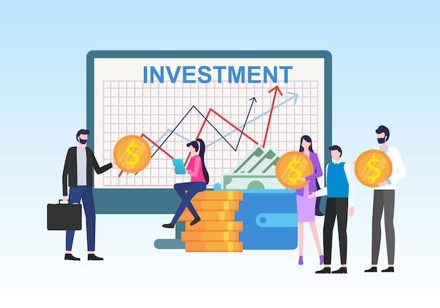 Geld-investment-einkommens-diagramm-wachstums-leute mit dollar-währungszeichen-münze