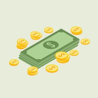 Geld isometrische ikone - vetorial