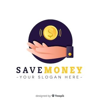 Geld logo vorlage mit der hand