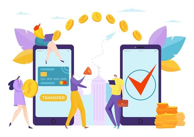 Geld mobile online-transaktion illustration