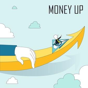 Geld nach oben konzept: ein mann sitzt auf einem fliegenden papierflugzeug im linienstil