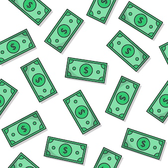 Geld nahtloses muster auf einem weißen hintergrund. papiergeld-symbol-vektor-illustration